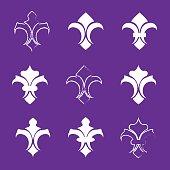 Engraving fleur de lis icons set. Antique decoration fleur de li