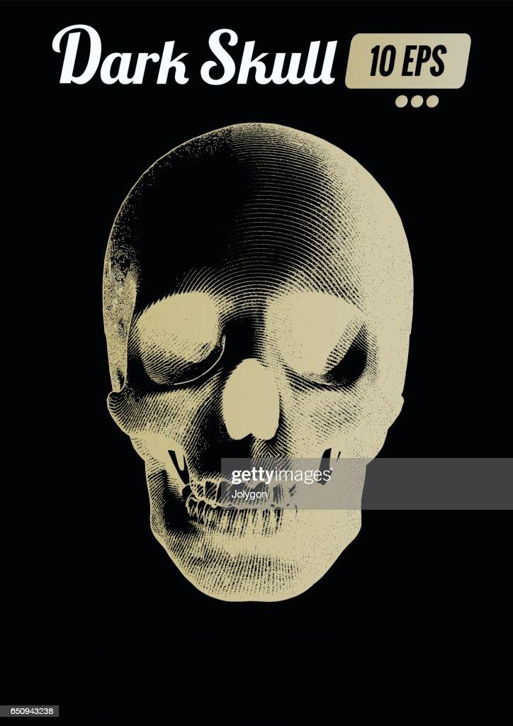 Engraving gold skull front view on dark BG