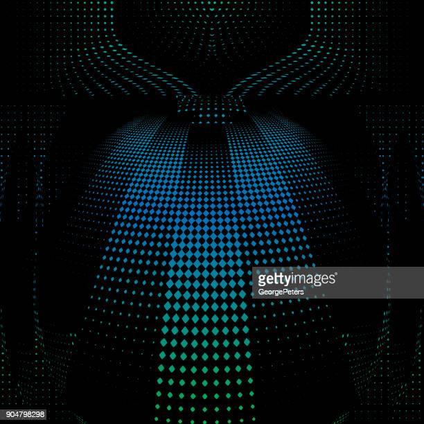 Grabado del patrón de semitonos que sugiere el ciberespacio