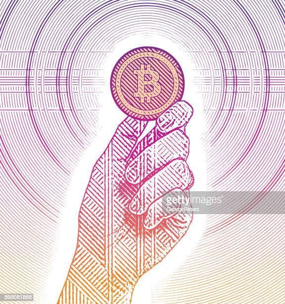 illustrazioni stock, clip art, cartoni animati e icone di tendenza di illustrazione incisione di una mano che tiene un bitcoin - bitcoin
