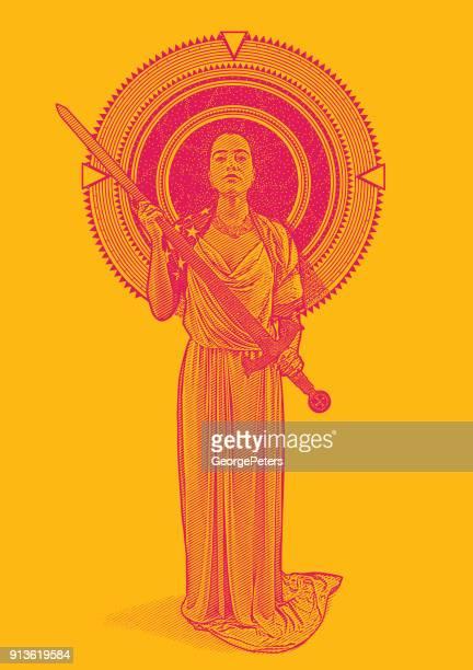 Gravure van illustratie van een gemengd ras Vrouwe Justitia holding zwaard door sterren en ruimte omlijst