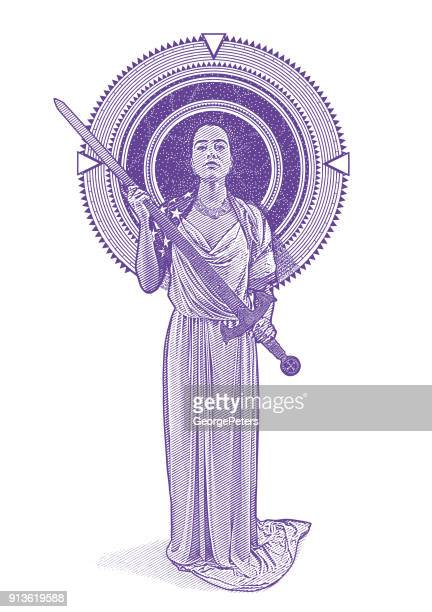 Engraving illustration of a Mixed race Lady Justice holding sword framed by stars and space