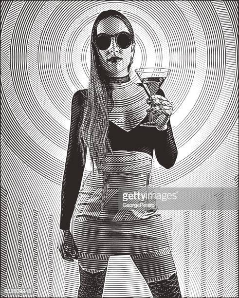 Engraving illustration of a sensuous woman at a popular concert drinking martini with a psychedelic pattern in background