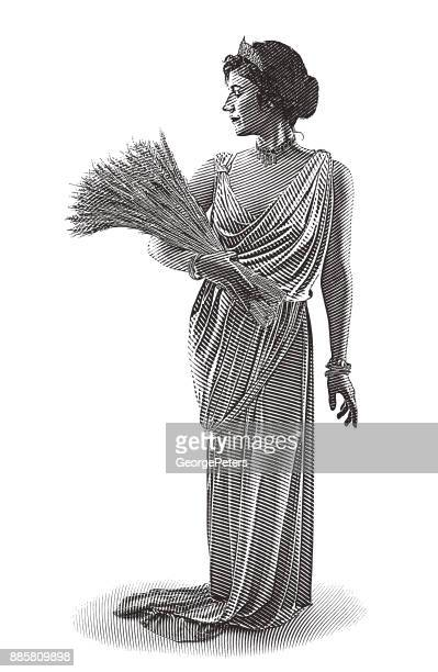 Engraving illustration of Demeter, the goddess of the harvest and fertility