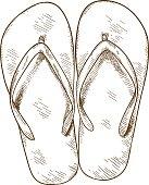 engraving illustration of flip-flops
