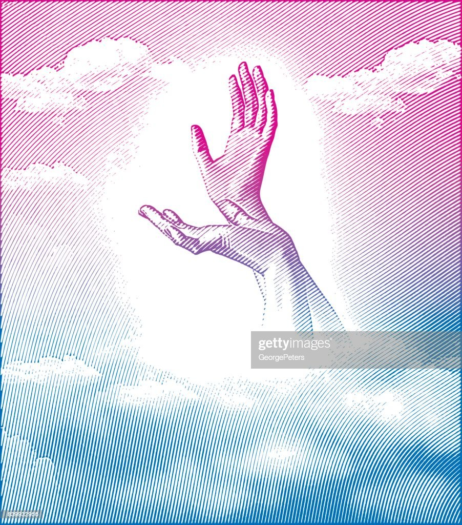 Engraving illustration of Hands reaching to the sky