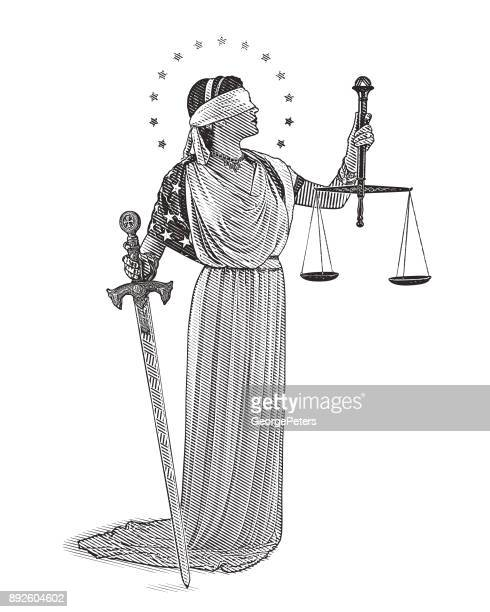 engraving illustration of lady justice holding sword and scales with blindfold and wearing american flag - justice concept stock illustrations