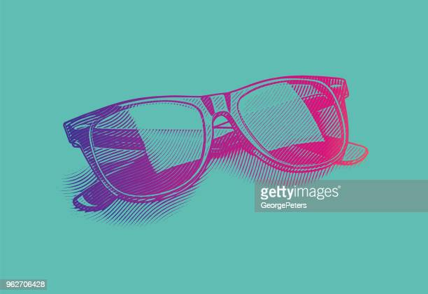 engraving illustration of retro style sunglasses cut out - sunglasses stock illustrations, clip art, cartoons, & icons