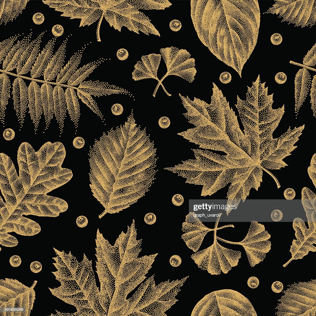 Engraving Leaves Seamless Pattern Vector Illustration
