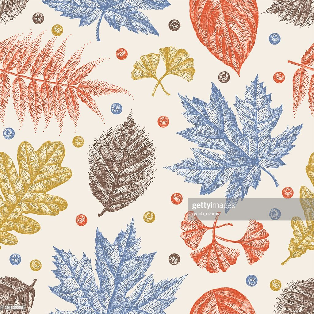 Engraving Leaves Seamless Pattern Vector Illustration
