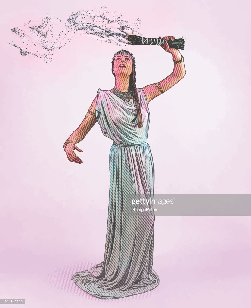 Engraving of a Spiritual woman performing sage smudging ceremony with smoke morphing into flying doves : stock illustration