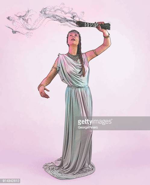 engraving of a spiritual woman performing sage smudging ceremony with smoke morphing into flying doves - goddess stock illustrations, clip art, cartoons, & icons