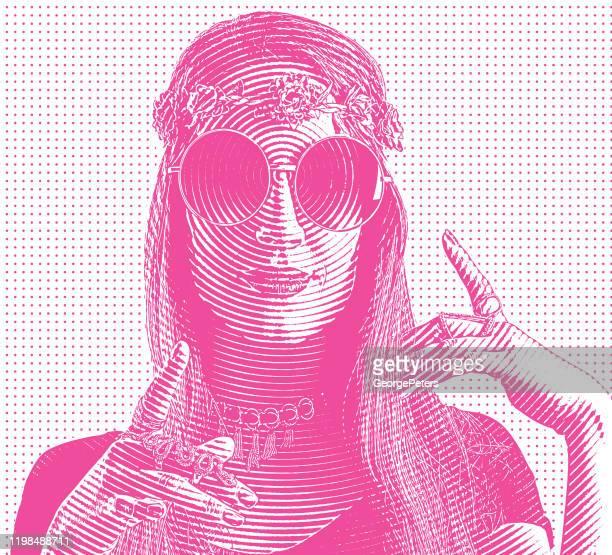 ilustrações, clipart, desenhos animados e ícones de gravura de uma jovem hippie feminina - intoxicação por cannabis