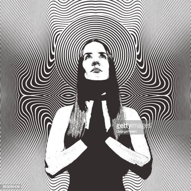 Engraving of a Young woman praying and meditating with psychedelic half tone pattern background