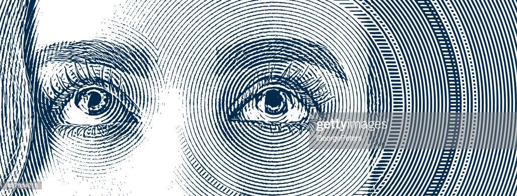 Gravura dos olhos de uma mulher jovem : Ilustração