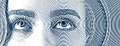 Engraving of a young woman's eyes