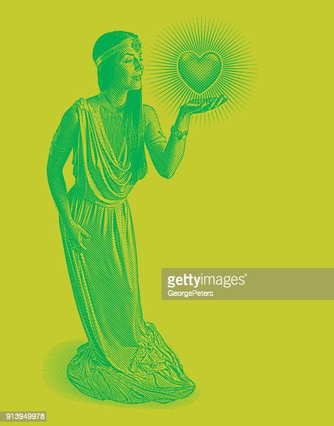 Engraving of Beautiful goddess of love and romance holding glowing heart