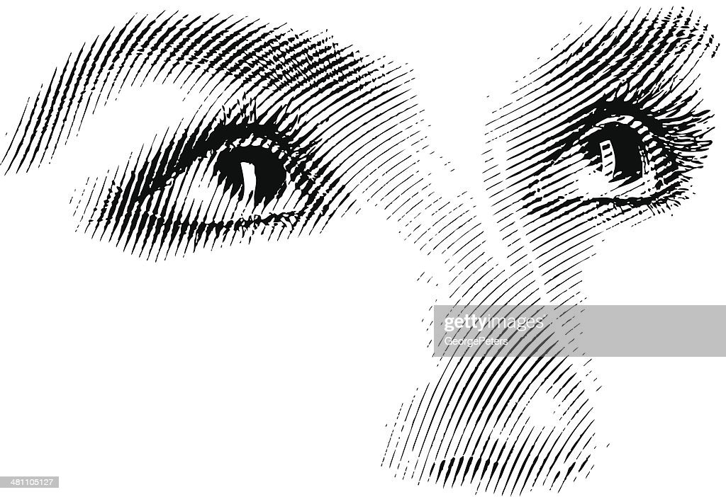 Engraving Of Eyes Looking Up : stock illustration