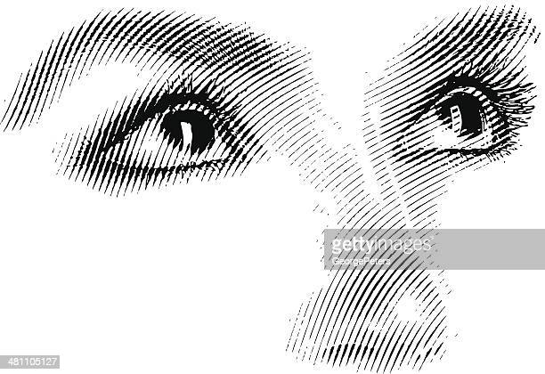 engraving of eyes looking up - human nose stock illustrations