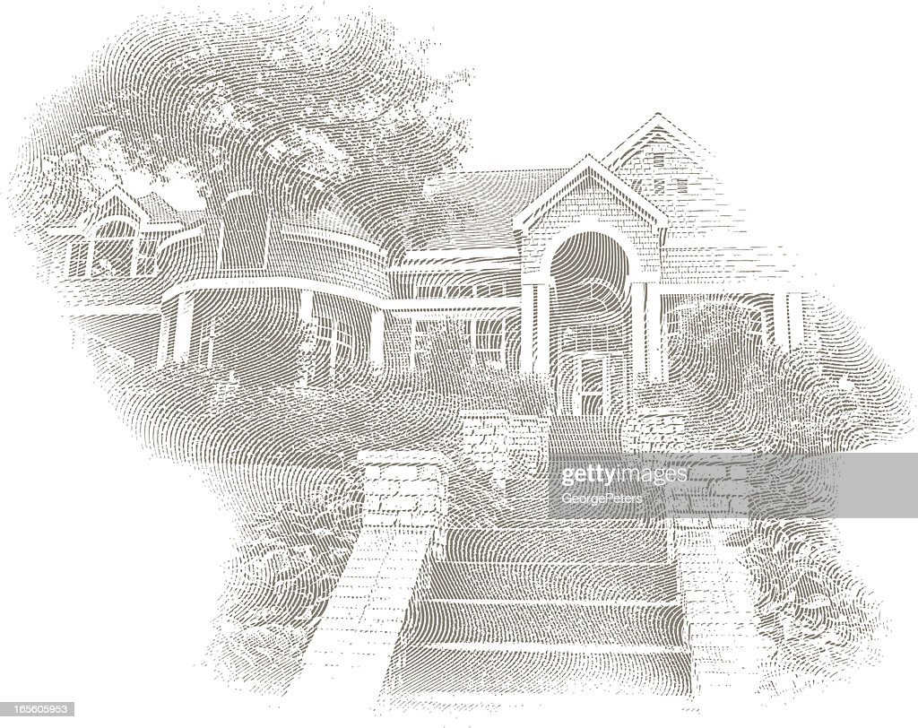 Engraving of Home, Stairs and Arches