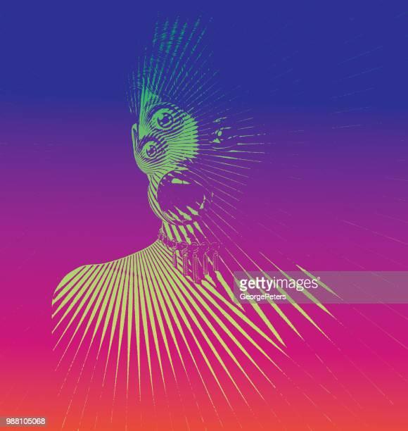 Gravieren von beängstigend Frau Monster mit drei Augen und schockiert Ausdruck