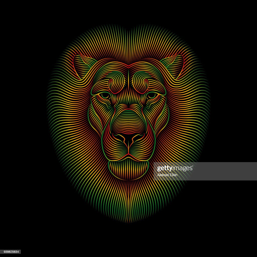 Engraving of stylized rasta lion on black background.