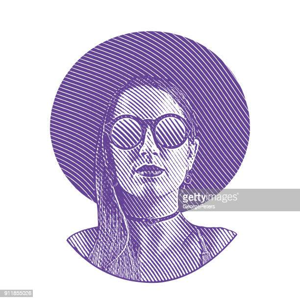 engraving portrait of a boho hipster woman with cool attitude - lip gloss stock illustrations, clip art, cartoons, & icons
