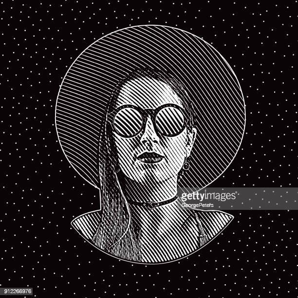 ilustrações de stock, clip art, desenhos animados e ícones de engraving portrait of a boho hipster woman with cool attitude - mulher fatal