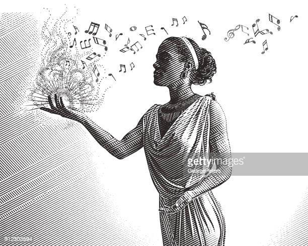 engraving portrait of a mixed race female musician composing music - sheet music stock illustrations, clip art, cartoons, & icons