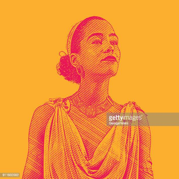 engraving portrait of a mixed race young woman - cuban ethnicity stock illustrations, clip art, cartoons, & icons