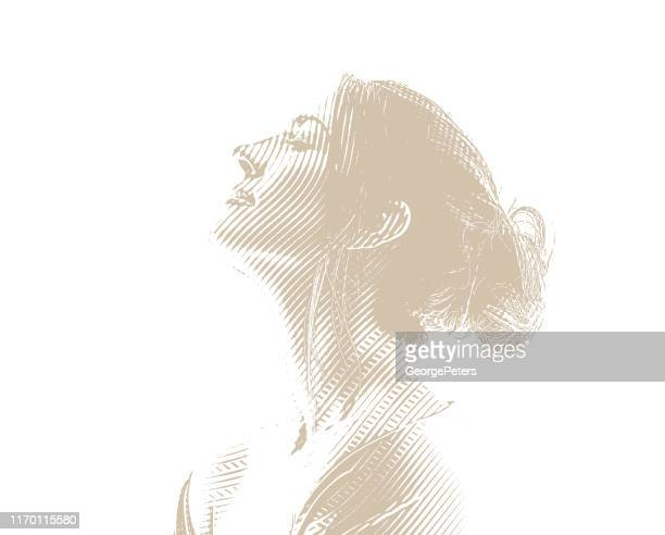 engraving portrait of a serene young woman - messy bun stock illustrations, clip art, cartoons, & icons