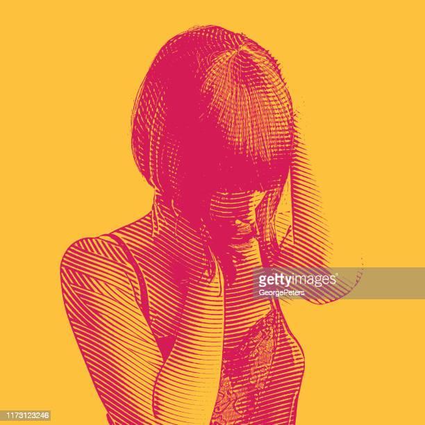 stockillustraties, clipart, cartoons en iconen met gravure portret van een jonge vrouw herstellende van geestesziekte - only women
