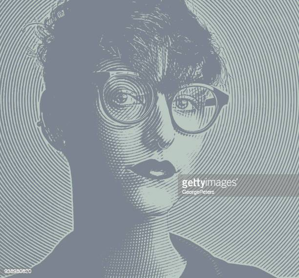 engraving portrait of an intelligent young lesbian creative professional - bisexuality stock illustrations, clip art, cartoons, & icons