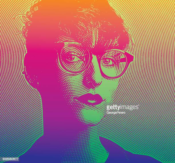 engraving portrait of an intelligent young lesbian creative professional - me too social movement stock illustrations, clip art, cartoons, & icons