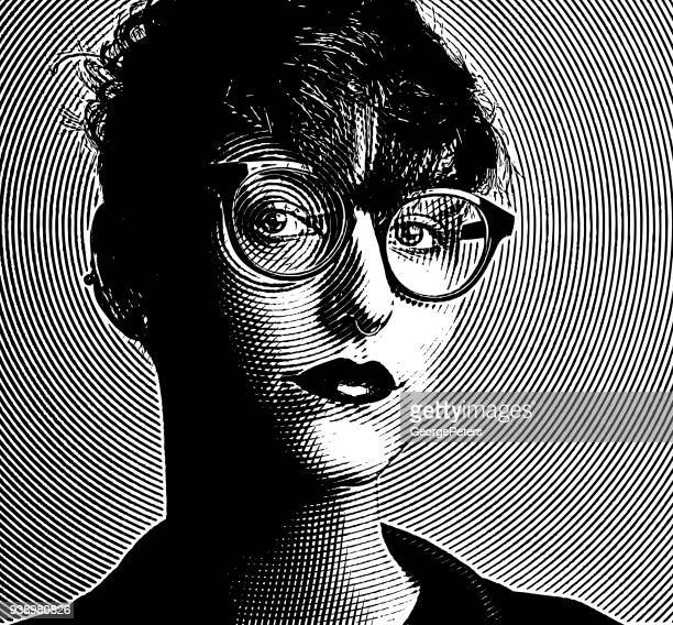 engraving portrait of an intelligent young lesbian creative professional - one young woman only stock illustrations