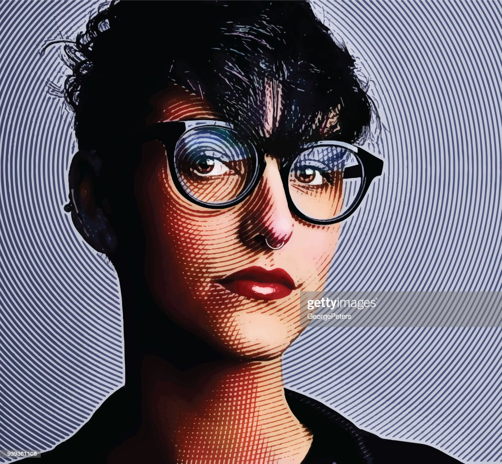 Engraving Portrait of an intelligent young lesbian creative professional : stock illustration