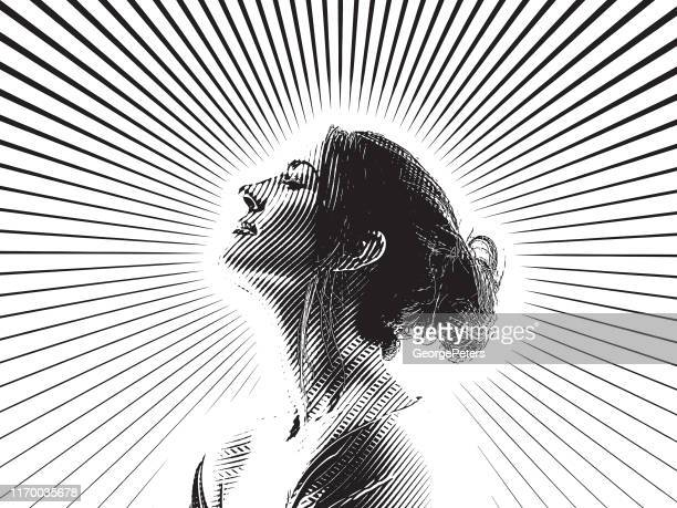 engraving portrait of beautiful young woman and morning sunlight - messy bun stock illustrations, clip art, cartoons, & icons