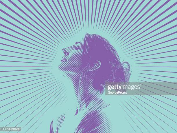 Engraving Portrait of beautiful young woman and morning sunlight
