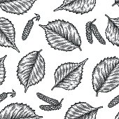 Engraving seamless pattern of birch leaves and seeds.