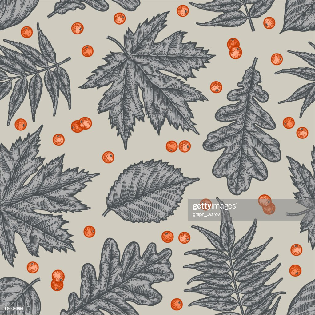 Engraving seamless pattern of leaves and berries