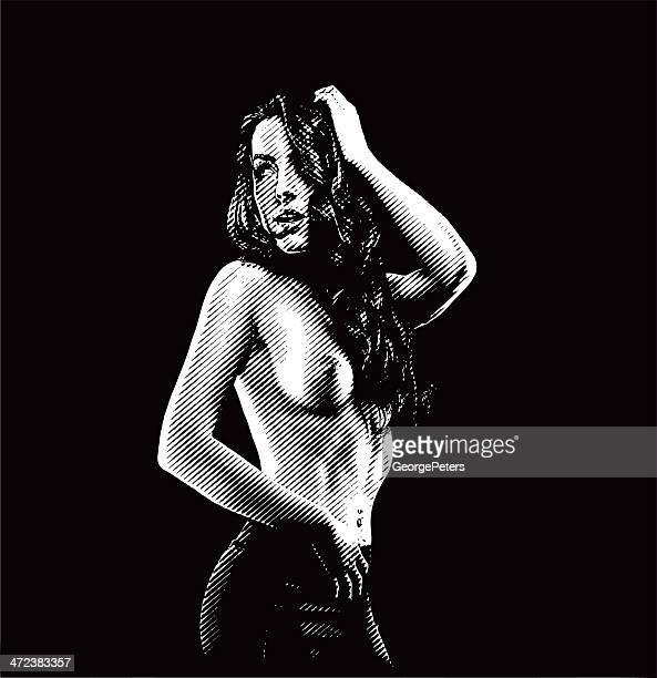 ilustrações de stock, clip art, desenhos animados e ícones de engraving. sensuous, topless jovem mulher - mulher fatal
