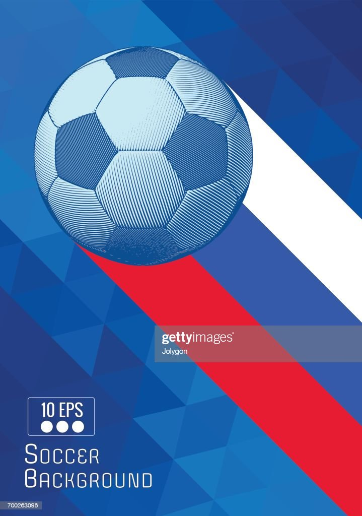 Engraving soccer ball illustration with triangle stripe BG
