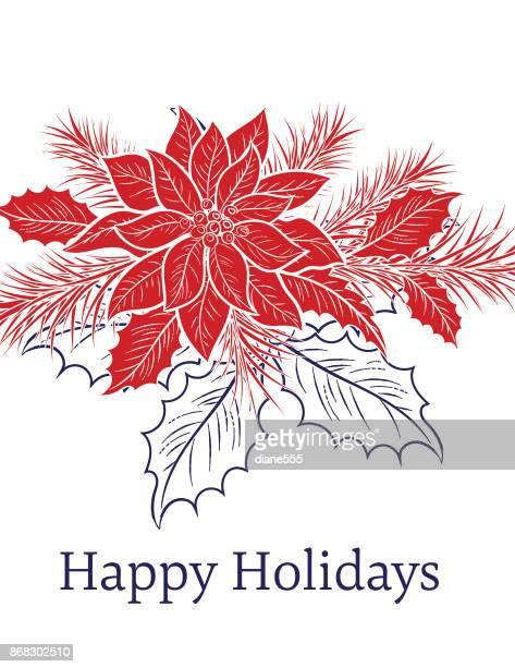 ilustraciones, imágenes clip art, dibujos animados e iconos de stock de fondo de navidad de estilo de grabado - flor de pascua