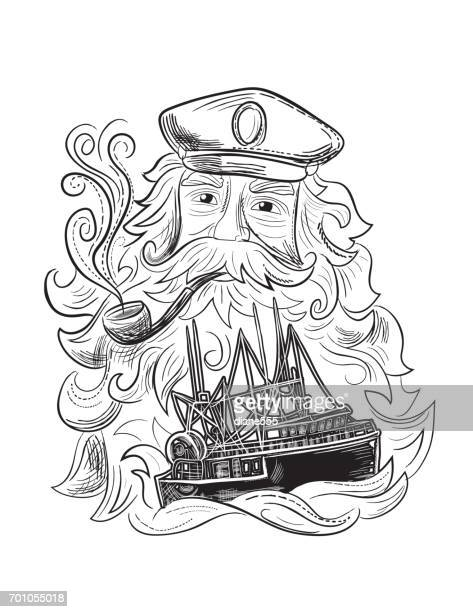 Engraving Style Marine and Nautical Element - Captain And Ship