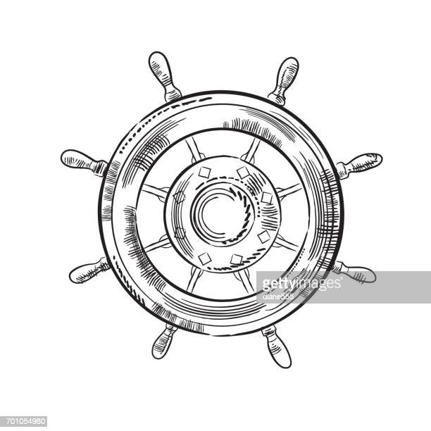 Engraving Style Marine and Nautical Element - Ship Wheel