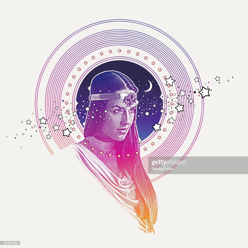 Engraving vector of Goddess framed with stars, space and moon : stock illustration