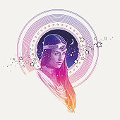 Engraving vector of Goddess framed with stars, space and moon