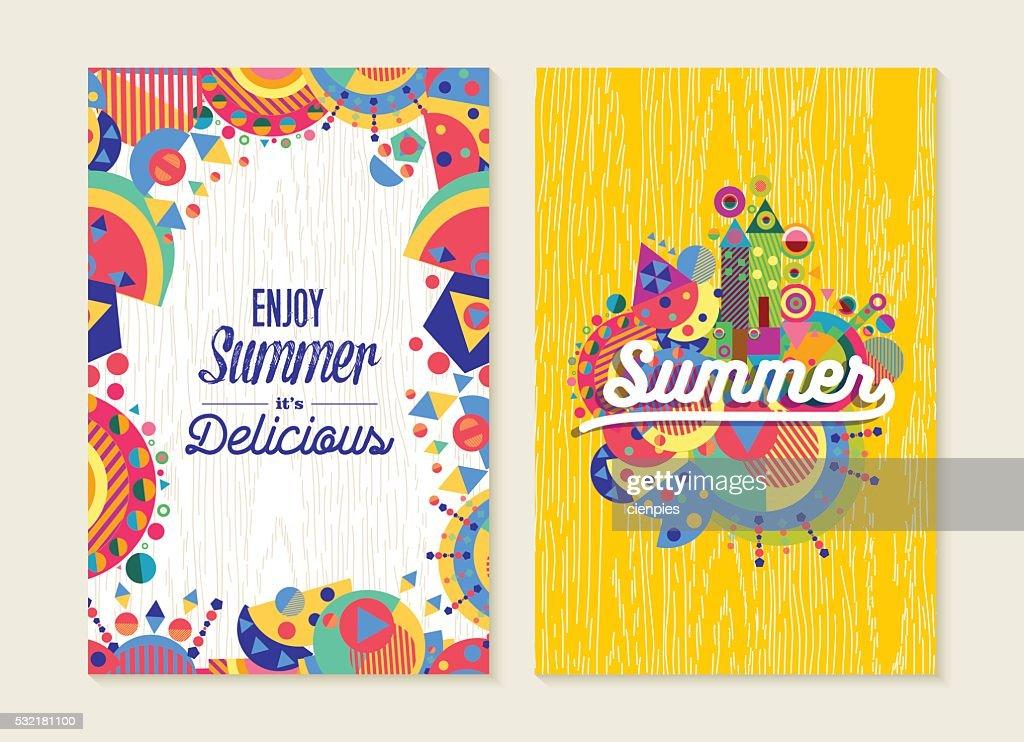 Enjoy summer set of poster or card with modern art