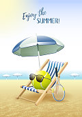Enjoy the Summer! Sports card. Tennis.
