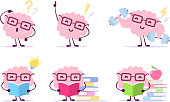 Enjoyable education brain cartoon concept. Vector set of illustration of pink color happy brain with glasses on white background with pile of books, light bulb, dumbbells.
